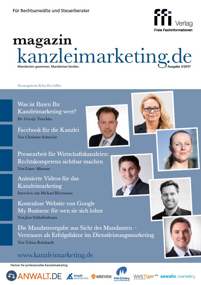 Cover eMagazin kanzleimarketing.de 03/2017