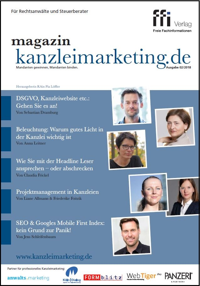 Cover eMagazin kanzleimarketing.de 02/2018