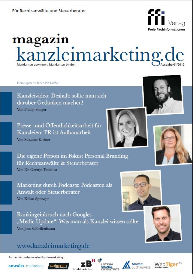 Cover eMagazin kanzleimarketing.de 01/2019