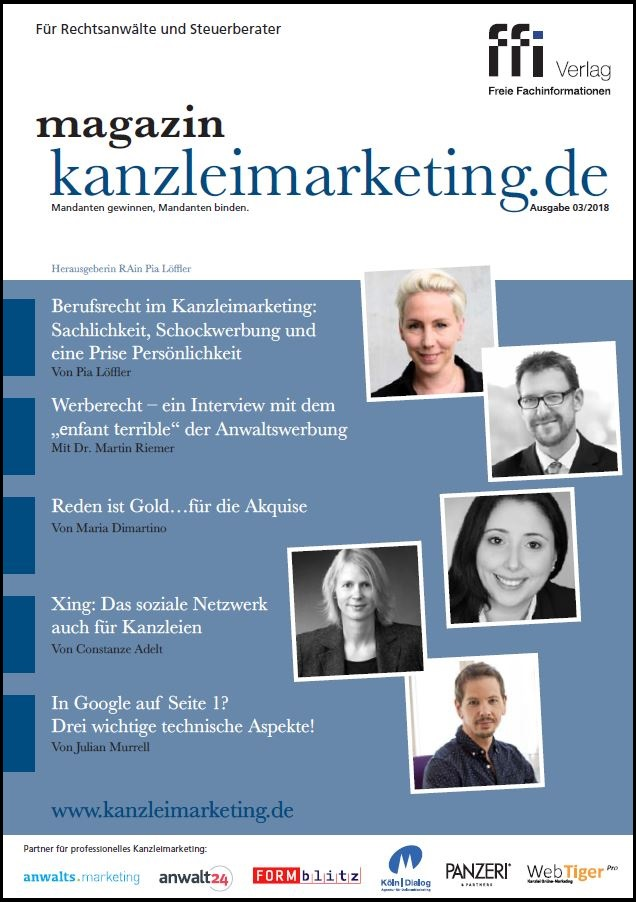 Cover eMagazin kanzleimarketing.de 03/2018