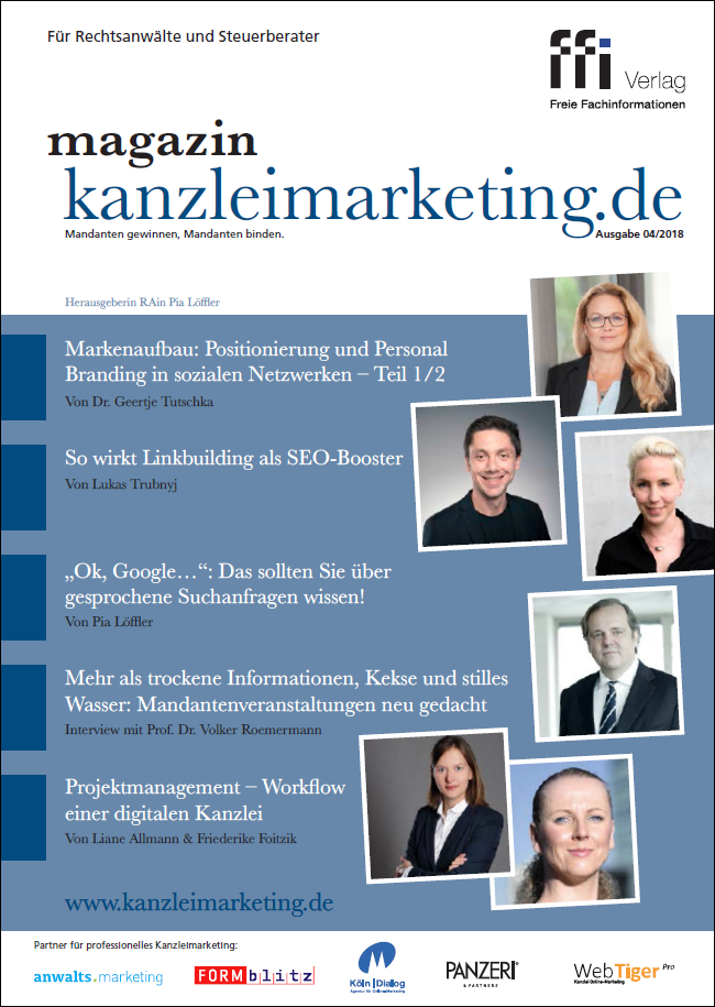 Cover eMagazin kanzleimarketing.de 04/2018