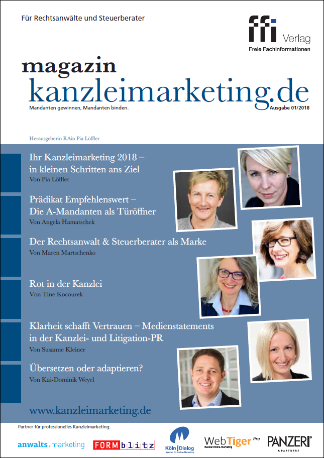Cover eMagazin kanzleimarketing.de 01/2018